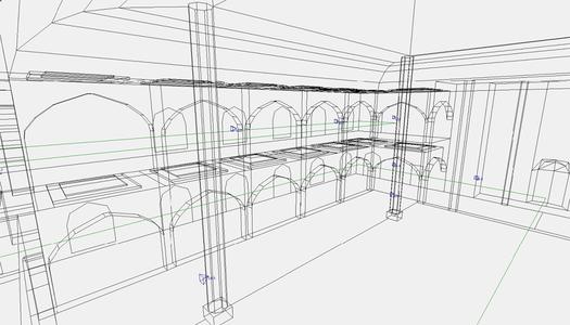 Размещение АС в модели зала. Вид на боковую стену основного молельного зала