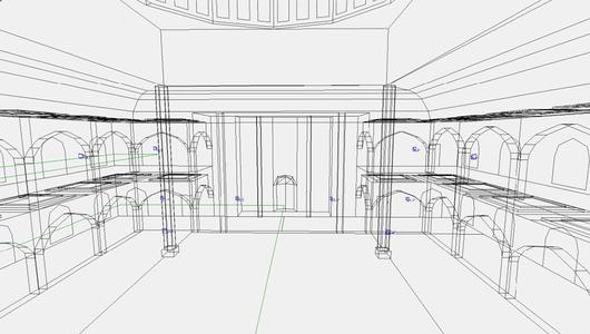Размещение АС в модели зала. Вид на фронтальную стену основного молельного зала