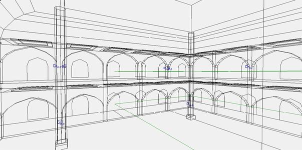 Размещение АС в модели зала. Вид на тыловую стену основного молельного зала