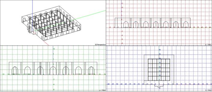 Изометрия и сечения модели для молельных залов в цокольных этажах